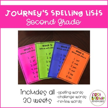 Journey's Spelling Lists [Second Grade]