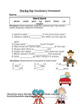 Journey's The Big Trip Vocabulary Homework