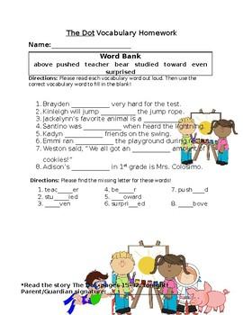 Journey's The Dot Vocabulary Homework
