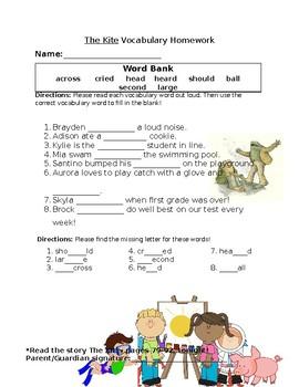 Journey's The Kite Vocabulary Homework