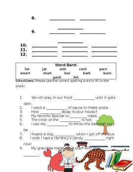 Journey's The Tree Spelling Homework