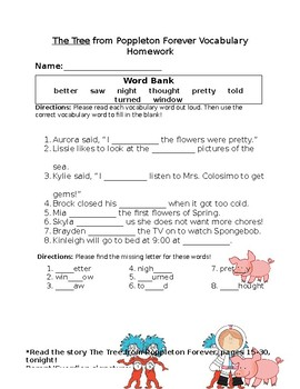 Journey's The Tree Vocabulary Homework