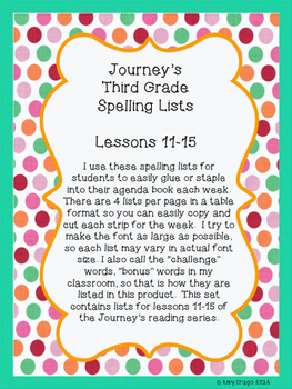 Journey's Third Grade Spelling Lists-Lessons 11-15