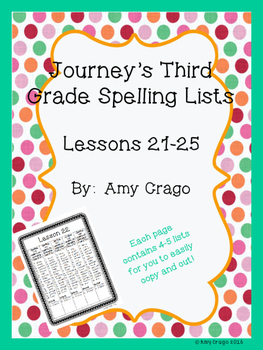 Journey's Third Grade Spelling Lists-Lessons 21-25