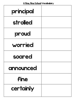 Journey's Lesson 1 A Fine Fine School Vocabulary Cards without definitions
