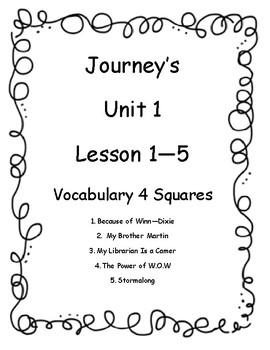 Journey's Unit 1 (Lesson 1 - 5) Vocab 4 squares