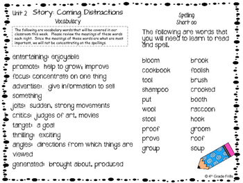 Journey's Unit 2 Vocabulary and spelling