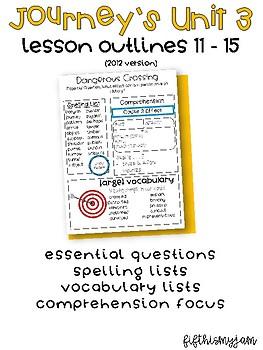 Journey's Unit 3 Grade 5 Lesson Outlines