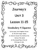 Journey's Unit 3 (Lesson 11-15) Vocab 4 squares