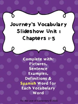 Journey's Vocabulary Grade 3 Chapters 1-5