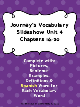 Journey's Vocabulary Grade 3 Chapters 16-20