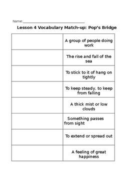 Journey's Third Grade Vocabulary Match-Up Unit 1 (lessons 1-5)