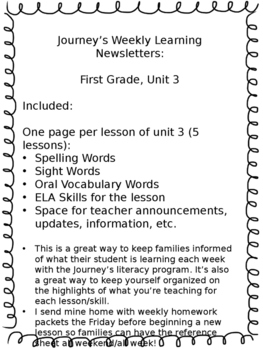 Journey's Weekly Learning Send Home Newsletters - Unit 3, First Grade