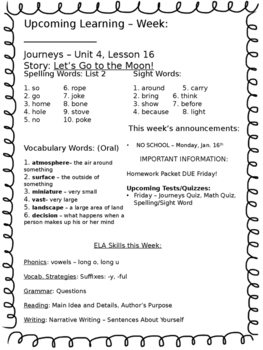 Journey's Weekly Learning Send Home Newsletters - Unit 4, First Grade
