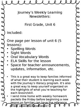 Journey's Weekly Learning Send Home Newsletters - Unit 6, First Grade