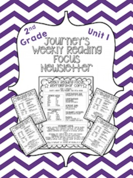 Journey's Weekly Reading Focus Newsletter (Unit 1)