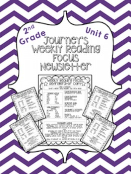 Journey's Weekly Reading Focus Newsletter (Unit 6)