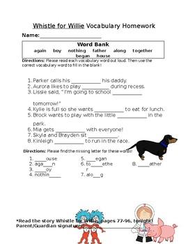 Journey's Whistle for Willie Vocabulary Homework