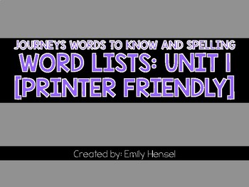 Journey's First Grade Word Lists Unit 1
