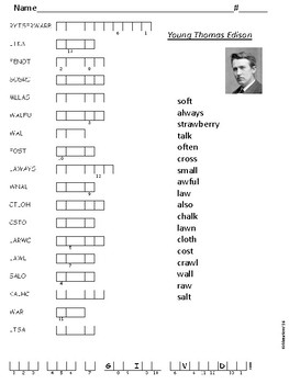 Journeys Spelling Activities for Unit 2 Lesson 10 Young Thomas Edison