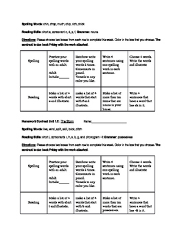 Journey's frist grade reading homework contracts Unit 1