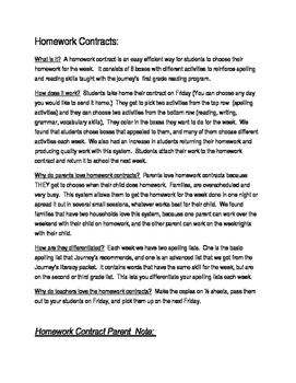 Journey's frist grade reading homework contracts Unit 1