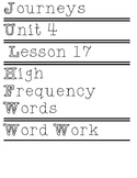 Journey's kindergarten High Frequency Words Unit 4 Lesson 17
