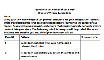Journey to the Center of the Earth Comic Strip Project