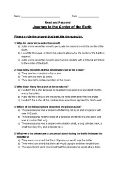 Journey to the Center of the Earth - Read and Respond Reading Street 5.2