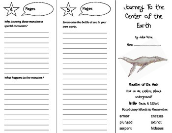Journey to the Center of the Earth Trifold - Reading Street 5th Gr Unit 5 Week 4