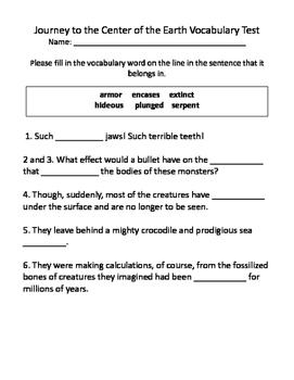 Journey to the Center of the Earth Vocabulary Test and Vocabulary ...