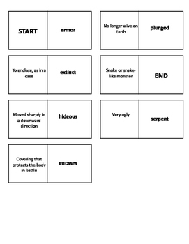 Journey to the Center of the Earth Vocabulary Test and Vocabulary Dominoes