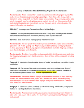 Journey to the Center of the Earth Writing Project and Rubric