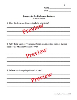 Journey to the Undersea Gardens by Clyne - Comp. Questions & Crossword