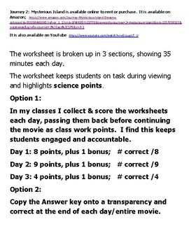 """Journey2 """"The Mysterious Island"""" 3 day viewing worksheet or sub plan Science"""