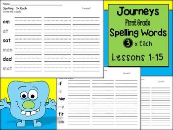 Journeys 1st Grade 3x Each Lessons 1-15-Spelling Words