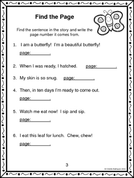 """Journeys 1st Grade """"A Butterfly Grows"""" Comprehension Packet"""