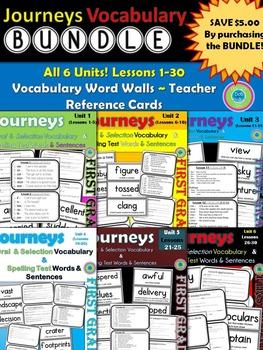 Journeys 1st Grade (Bundle) Units 1-6 Vocab Cards & Spelli