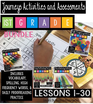 Journeys 1st Grade Bundle: Vocab, High Frequency, Spelling, & Daily Proofreading