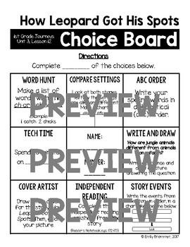 Journeys 1st Grade Choice Boards - Unit 3