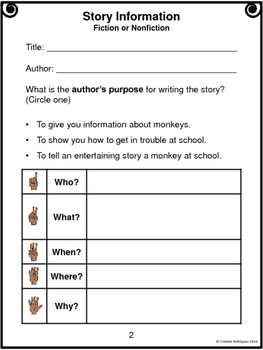 """Journeys 1st Grade """"Curious George at School"""" Comprehension Packet"""