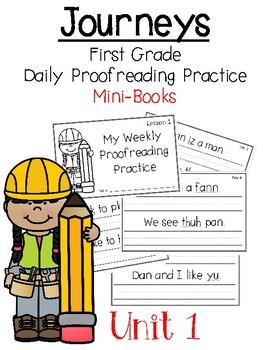Journeys 1st Grade Daily Proofreading Practice Mini-Books, Unit 1