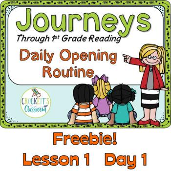 Journeys 1st Grade Daily Routine, Freebie Week 1 Day 1
