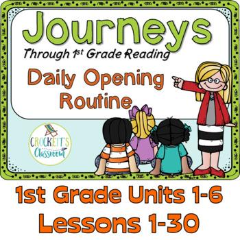 Journeys 1st Grade Daily Routine, Units 1-6 Bundle, Lessons 1-30