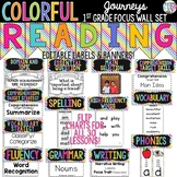 {COLORFUL} Journeys 1st Grade Focus Wall Set -Banners, Labels & Flip Charts