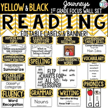 Journeys 1st Grade Focus Wall Set {Yellow and Black}