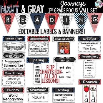 Journeys 1st Grade Focus Wall Set {Red, Navy, Gray} {Nautical}