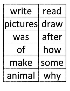 Journey's 1st Grade High Frequency Words