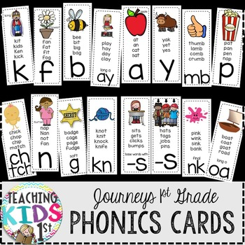 Journeys Kindergarten & 1st Grade Phonics Cards (BLACK BACKGROUND)