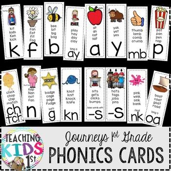 Journeys 1st Grade Phonics Cards (BLACK BACKGROUND)
